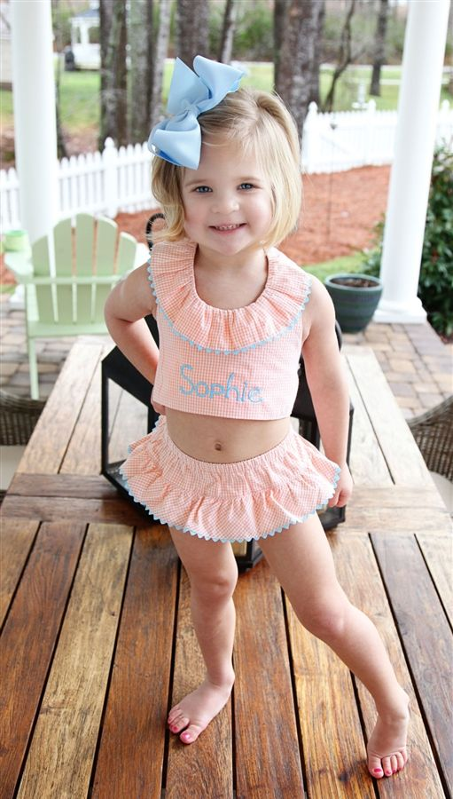 cute and modest two piece monogrammed swim suit    love the ruffle around the neck