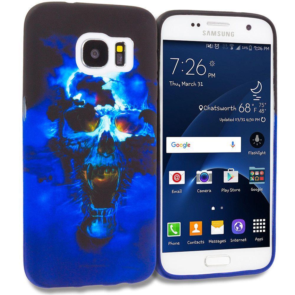 Blue Skulls TPU Design Rubber Skin Case Cover for Samsung Galaxy S7 Edge