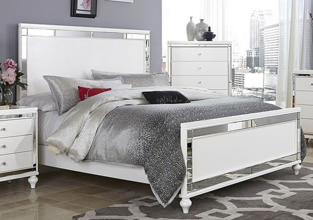 Glitzy 4 pc white mirrored queen bed n/s dresser & mirror ...