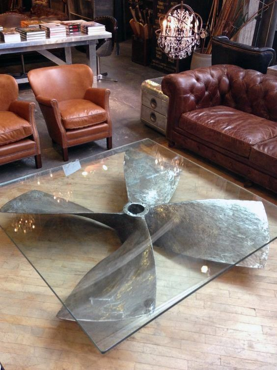 Furniture Man Cave Ideas Ship Rudder Glass Table Mens Cave
