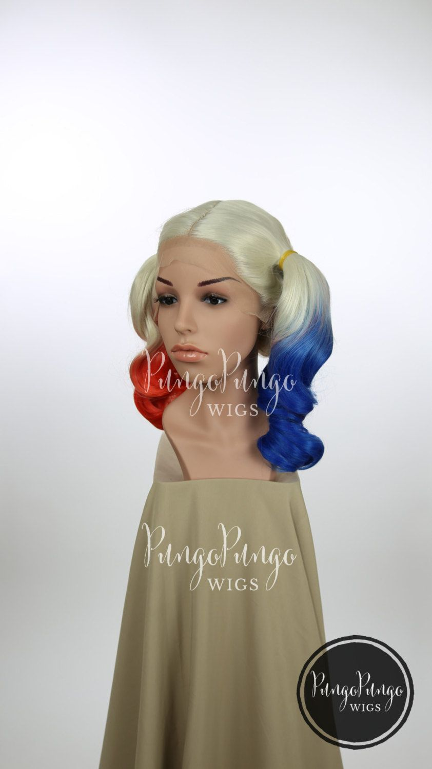 SALE Harley Quinn Costume Wig Blonde Red Blue Ombre Short Pigtail