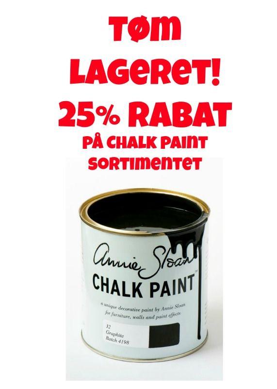 Udsalg på alt fra Annie Sloan. Kun så længe lager haves!. Spar 25% ved afhentning på værkstedet Frederiksborgvej 40A, Allerød #KalkMaling #udsalg #ChalkPaint