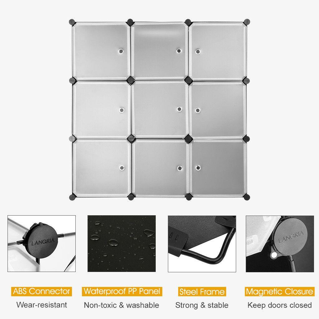 9 Cube Interlocking Modular Storage Organizer Shelf System Closet Wardrobe Rack Closet Organizers Modular Storage Closet System Closet Organizing Systems