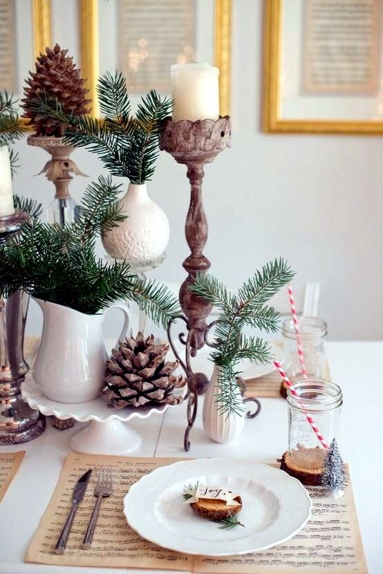 Winter Table Decor Do It Yourself Natural Materials And White Winter Christmas Table Decorations Christmas Decorations Natural Christmas