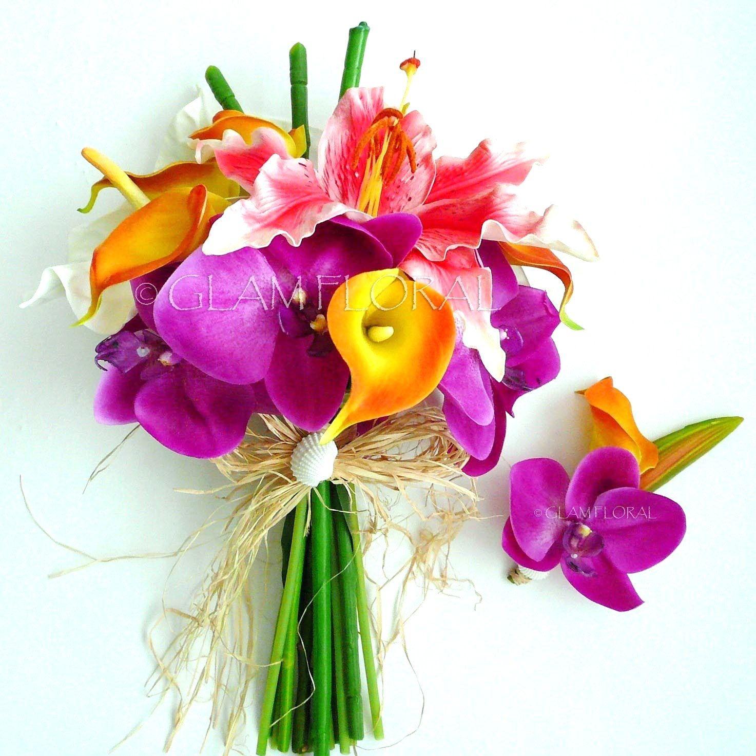 Tropical Bridal Bouquet Set- Real Touch - purple phalaenopsis ...