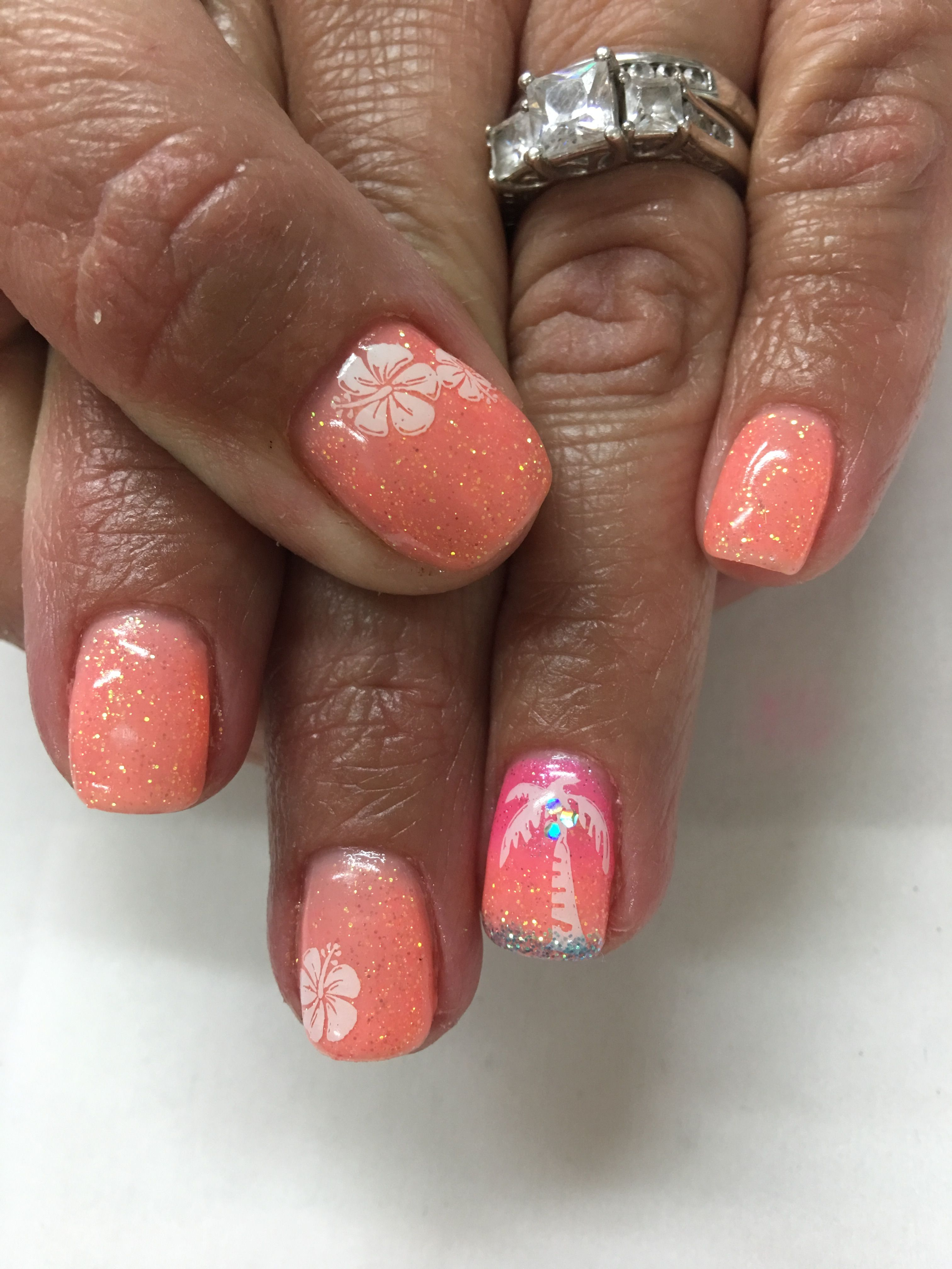 Coral Melon Glitter Ombre Vacation Tropical Gel Nails With Images