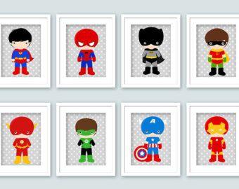 Arte de pared de superh roe dormitorio super posters por for Dormitorio super heroes
