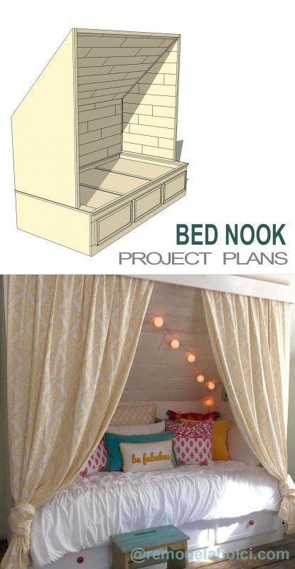 make your own diy cozy builtin bed nook perfect for a teen or tween room or for a guest room slash office too love cute bedroom ideas like this one