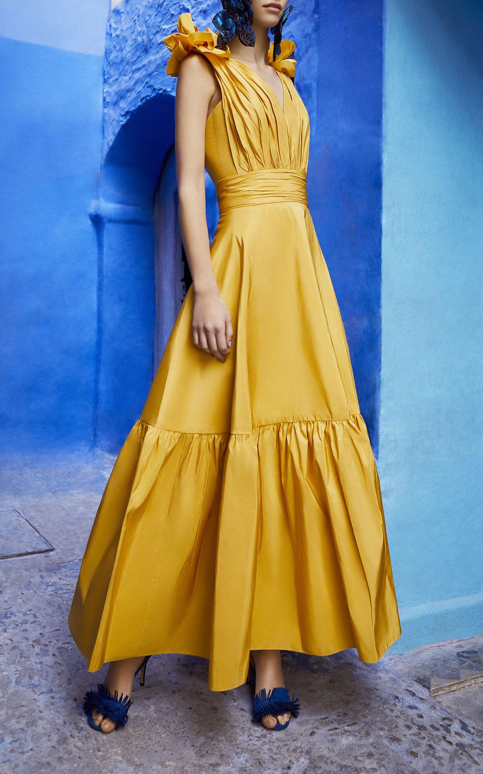 Yellow Sunflower Dress By Bambah For Preorder On Moda Operandi Evening Dress Fashion Dresses Sunflower Dress [ 2560 x 1598 Pixel ]