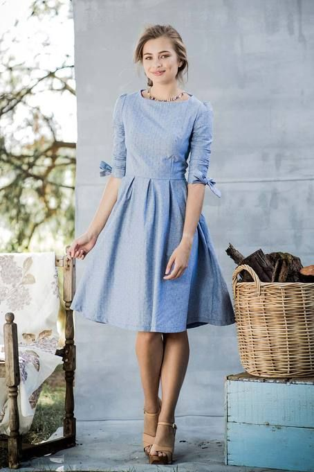 Fit and flare cotton chambray dress.