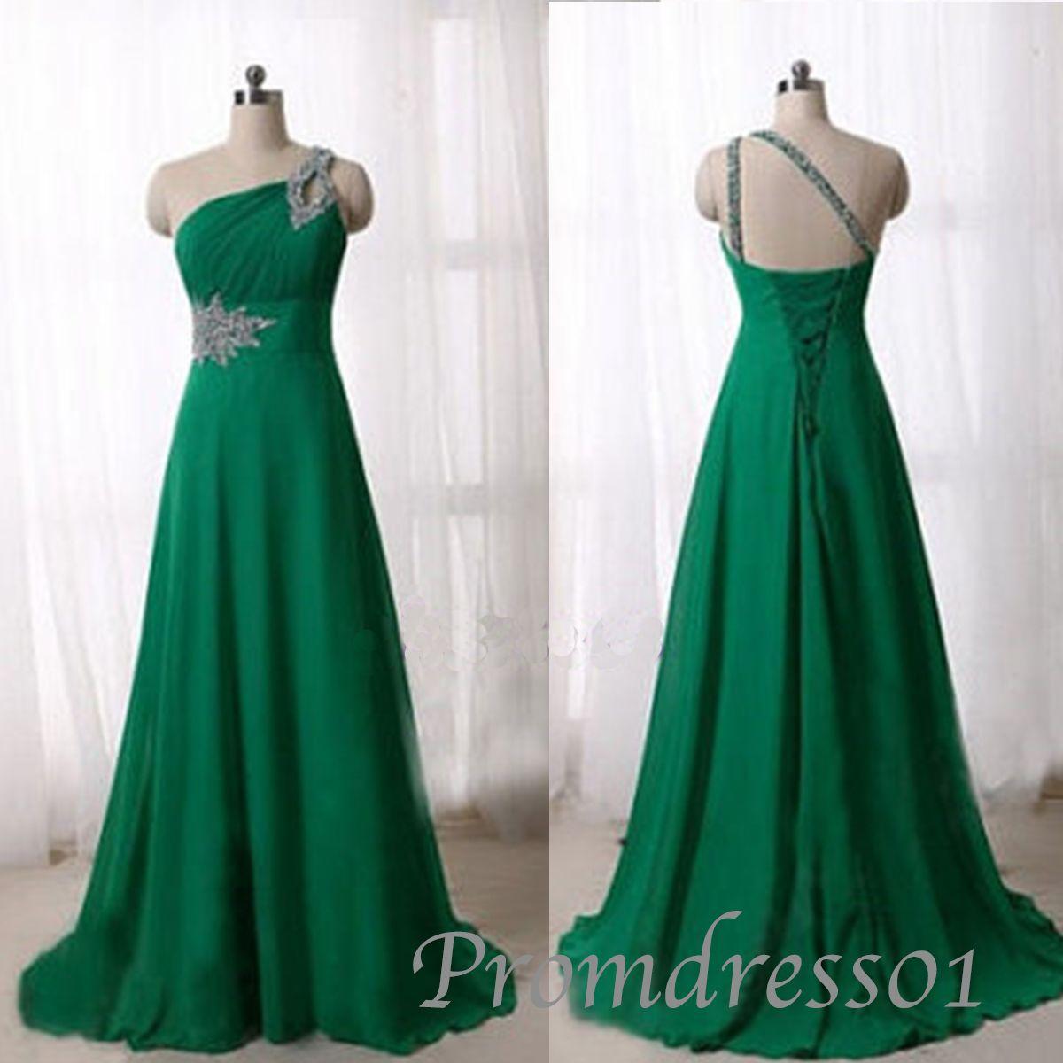 Elegant one shoulder green chiffon prom dress promdress dress