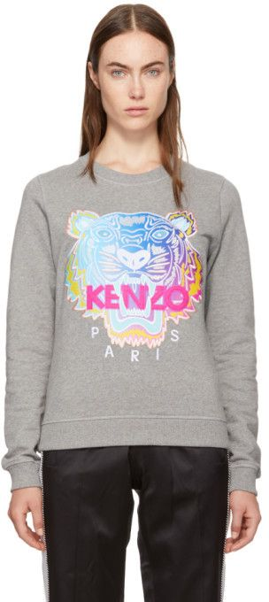 5af6cd1c Kenzo Grey Limited Rainbow Geo Tiger Sweatshirt | Women's Knitwear ...