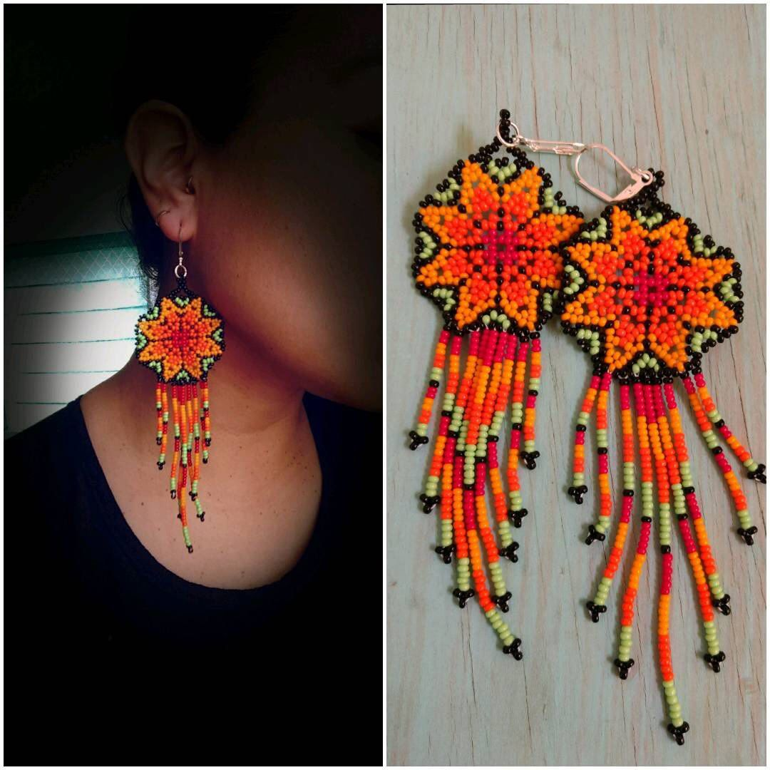62194e9bd712c7 Huichol Handmade earrings/ Mexican Art / Huichol Chaquira / Mexican earrings/  ethnic earrings /