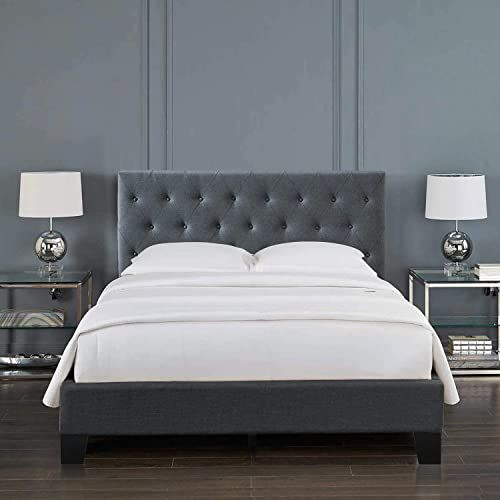 Chic Inofia King Upholstered Bed Frame Linen Button Tufted Comfy