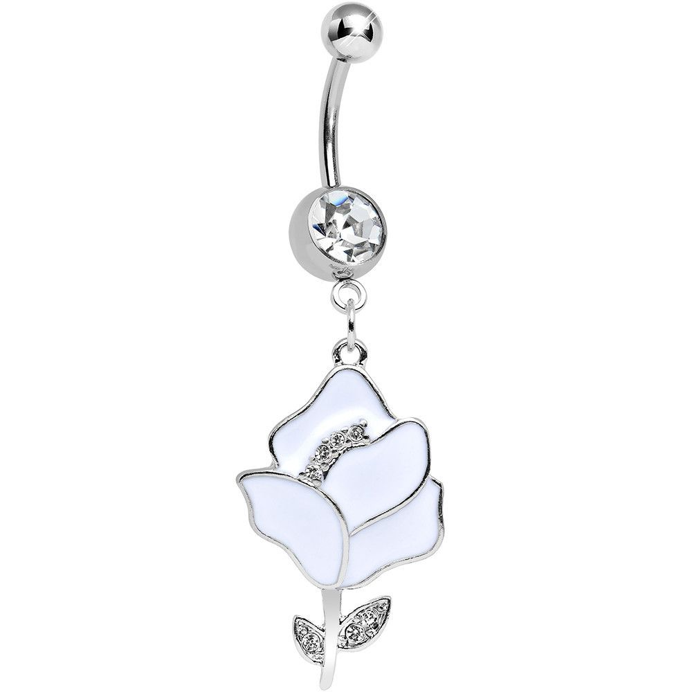 Belly piercing jewelry  Clear Gem Stainless Steel White Opera Flower Dangle Belly Ring