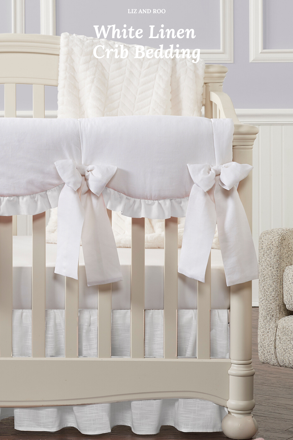 All White Crib Bedding Collection In 2020 Linen Crib Bedding