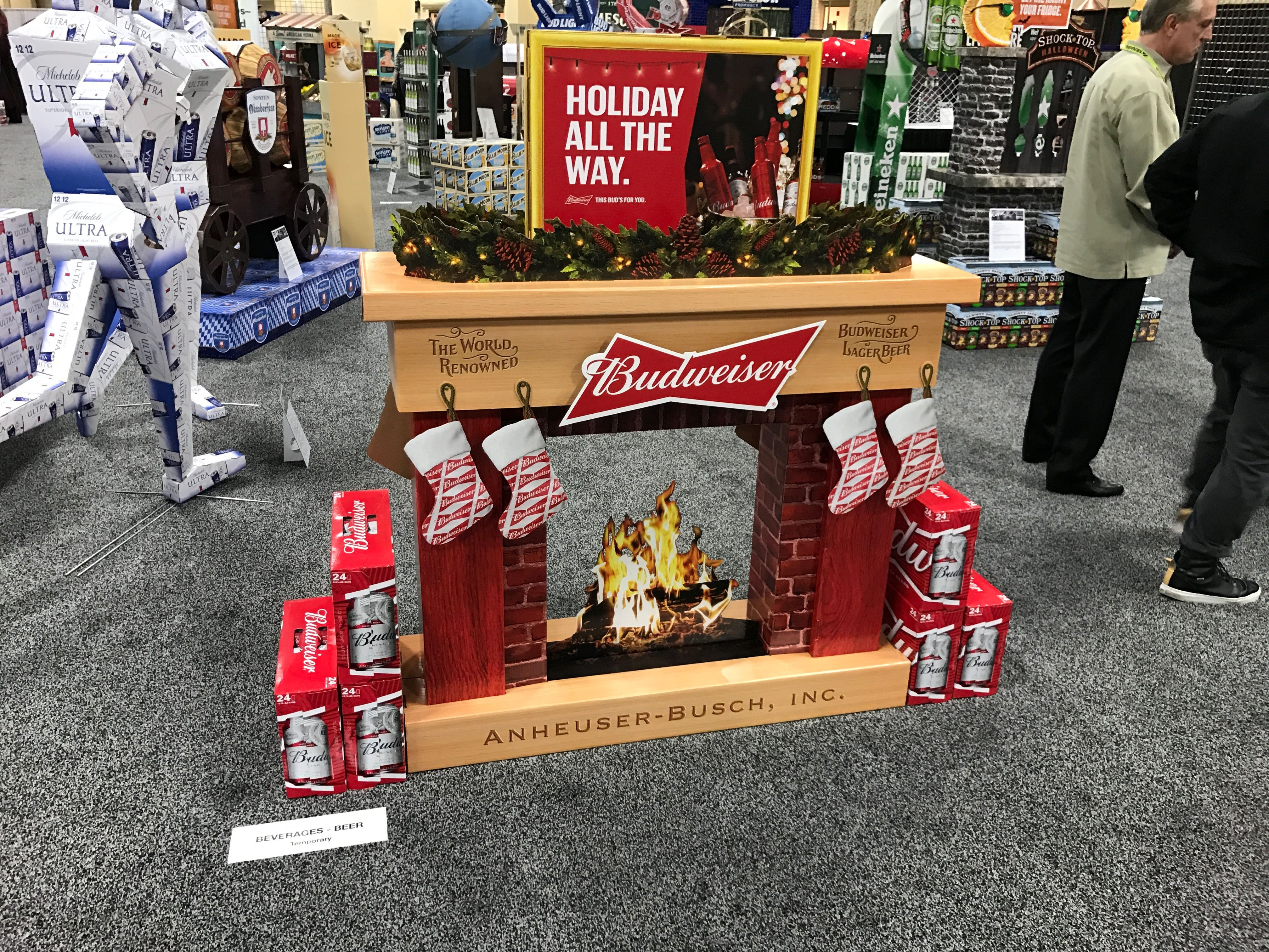 Superb Budweiser uHoliday All The Way u Free Standing Unit Looking to get noticed with