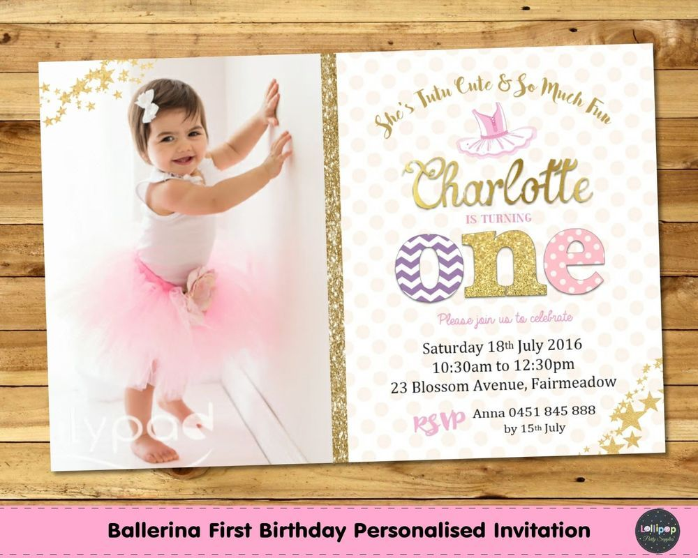 Ballerina personalised invitation invite 1st first birthday party ...