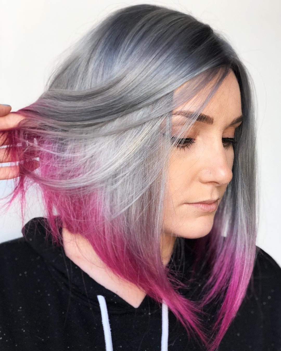 silver hair pink tips | hair in 2019 | hair, hair styles