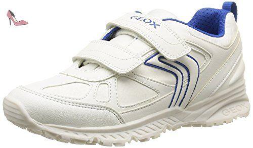 Geox J Bernie E, Sneakers Basses Garçon, Blanc (White/Blue), 28 EU