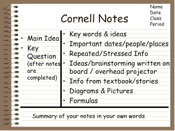 The Cornell Method Or The Cornell NoteTaking System Is One Of The