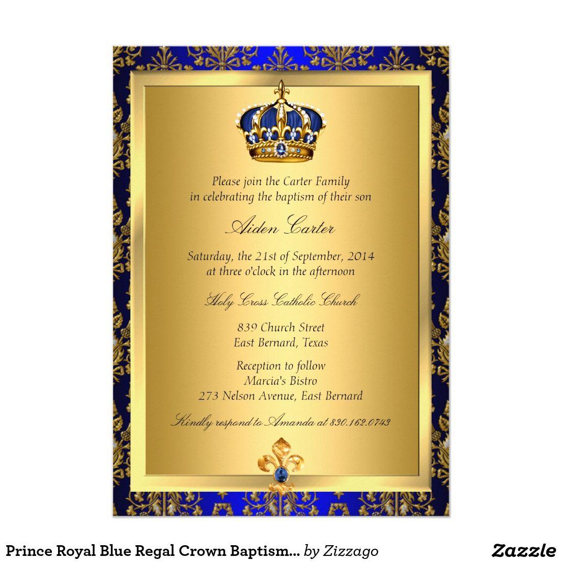 O baptismo régio da coroa do príncipe azul marinho convite 12.7 x 17.78cm