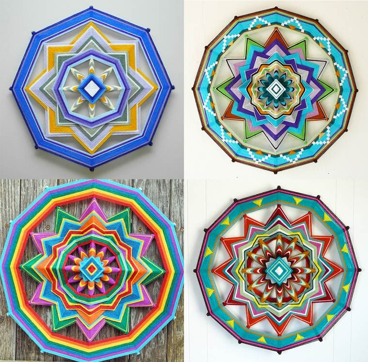 The Eyes of God series, or Ojos de Dios in Spanish, designed by the artistJay Mohler, whosince 1966 produces these delicate and colorful mandalas using only