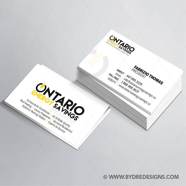 Business Card Design Print For Ontario Energy Savings Dredesigns Business Card Design Freelance Graphic Design Card Design