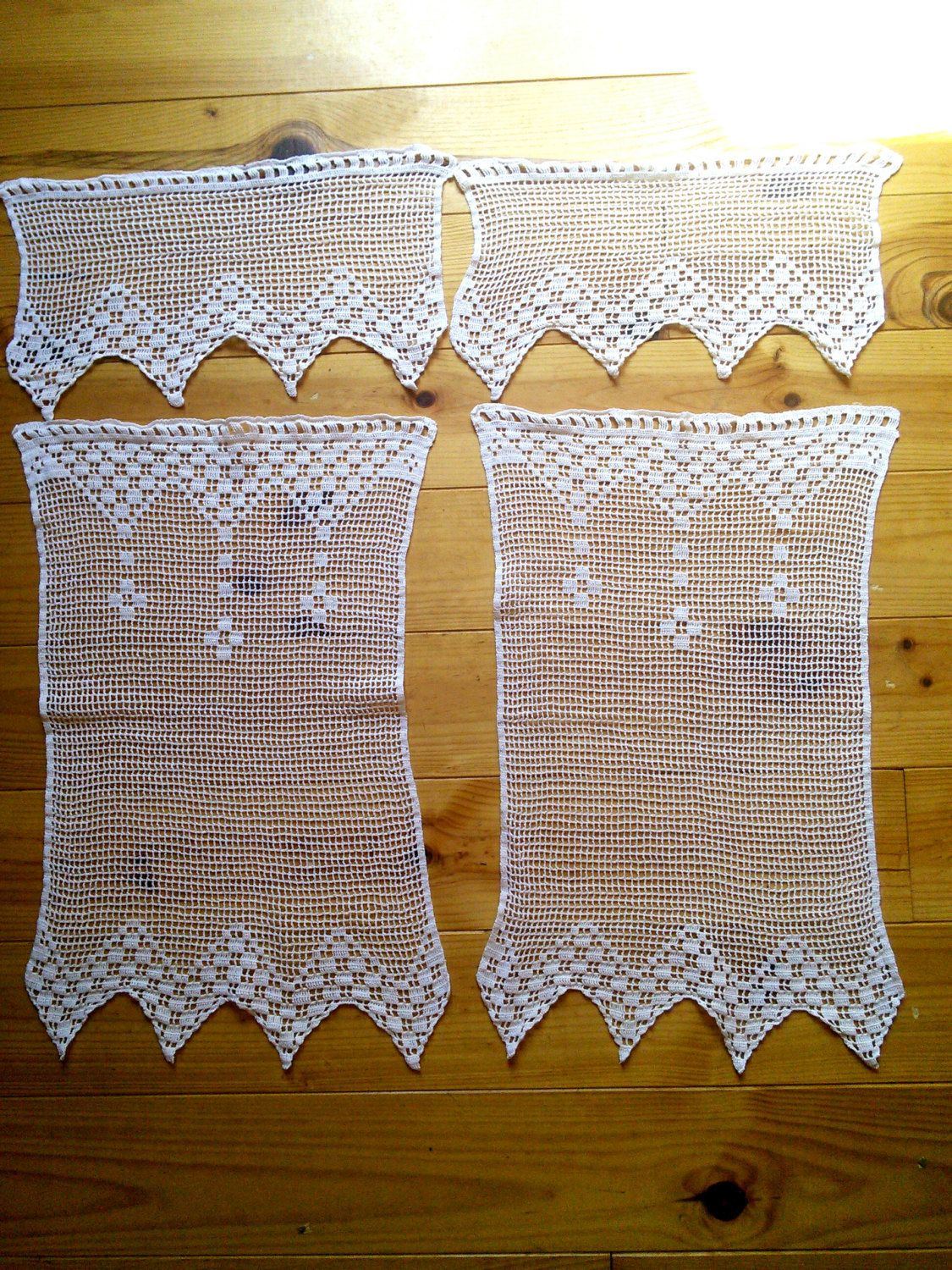 Crochet Lace Handmade Curtain Panels Pair French Vintage