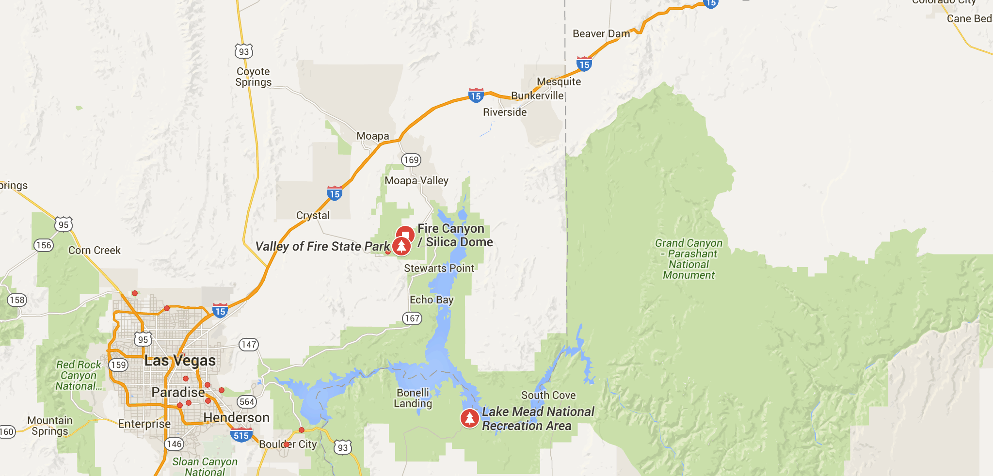 Map Of State And National Parks Near Las Vegas Nv National Parks
