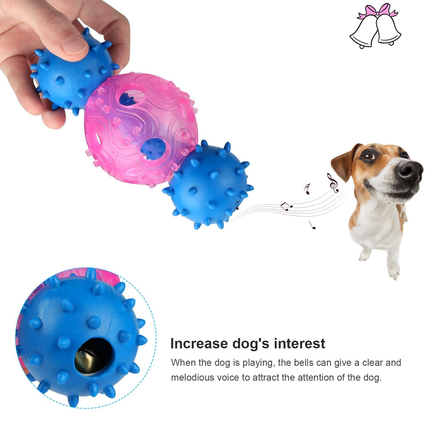 Dog Chew Bones Toys Multifunctional Rubber Dog Bar Bell Chew Toy