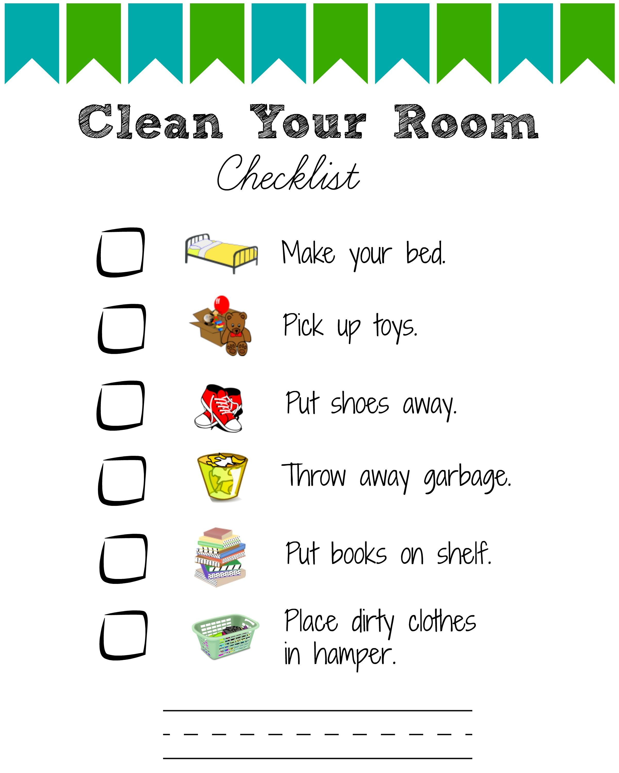 Printable Room Cleaning Checklists For Kids Room