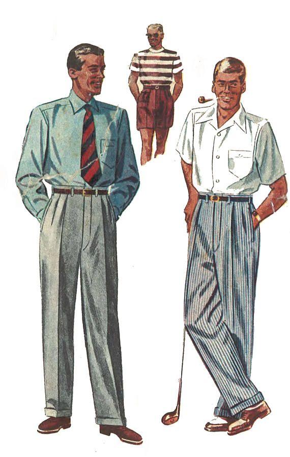 Vintage 1950\'s Sewing Pattern Men\'s Dapper Slacks Pants Trousers ...