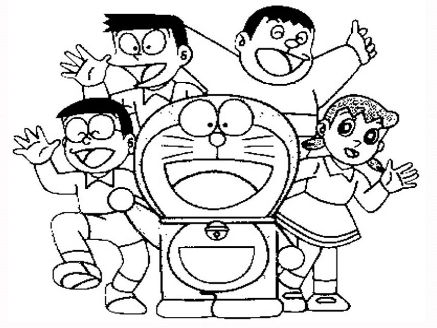Doraemon And Friends Coloring Pages Dinosaur Coloring Pages Cartoon Coloring Pages Cute Cartoon Drawings