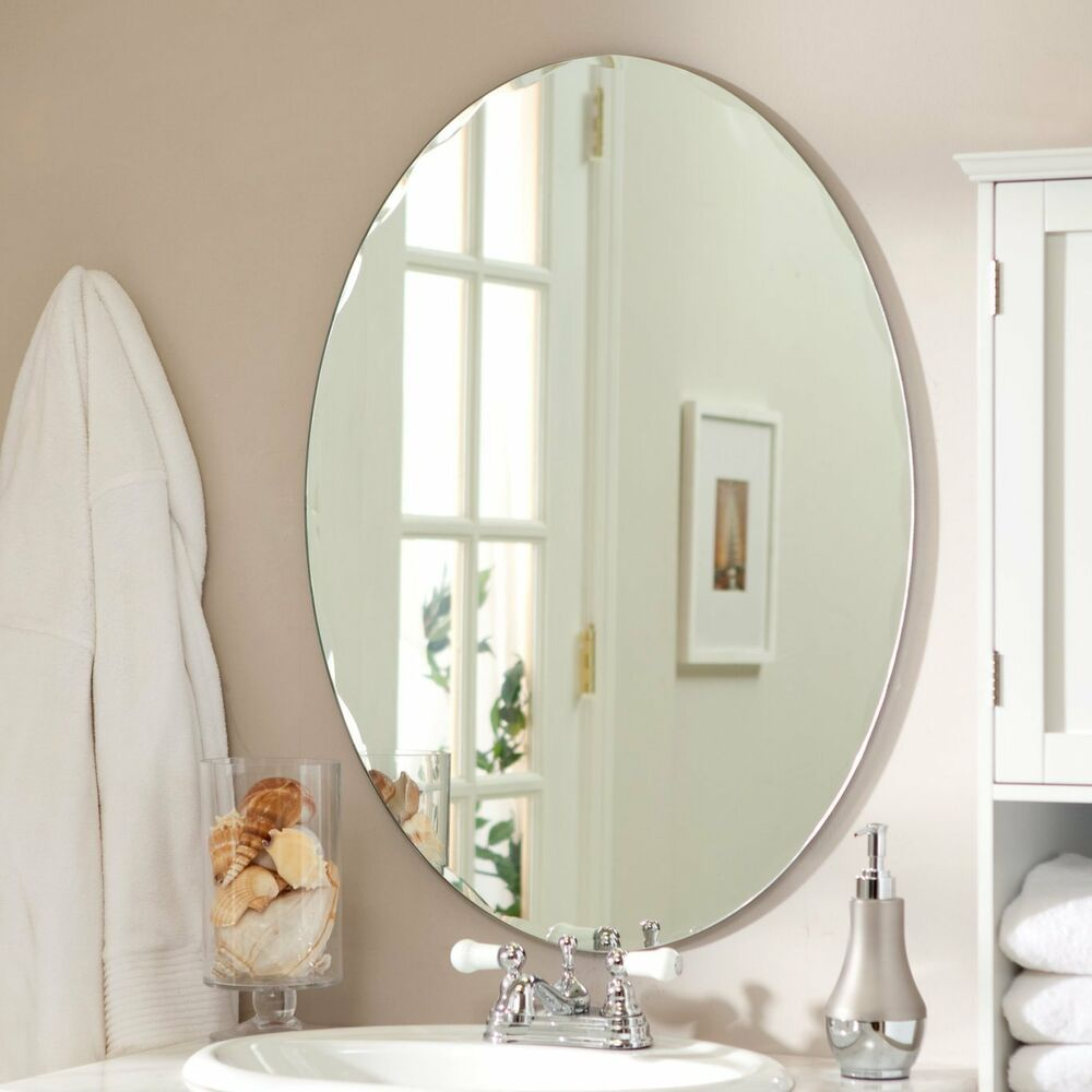 Small Bathroom Vanity Mirror Oval Wall Frameless Beveled Glass Entryway Bedroom Unbranded Transitionalm Frameless Beveled Mirror Mirror Wall Oval Wall Mirror