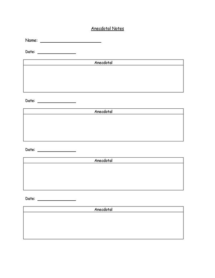 Anecdotal Notes Template - Could use for Teaching Strategies Gold - workshop evaluation forms sample