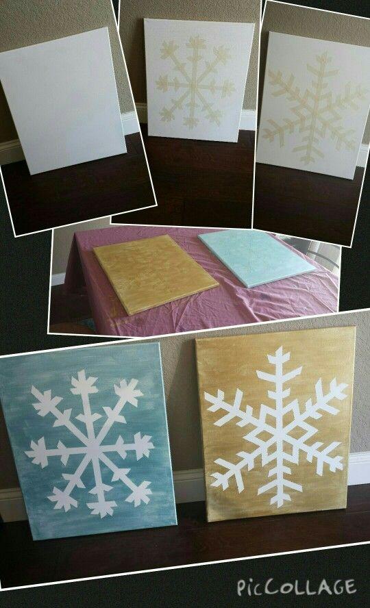 Snowflake Canvases Supplies Canvases I Used 16x20 Paint I Used Metallic Acrylic Folkart Masking Diy Christmas Canvas Painting Snowflakes Tape Painting