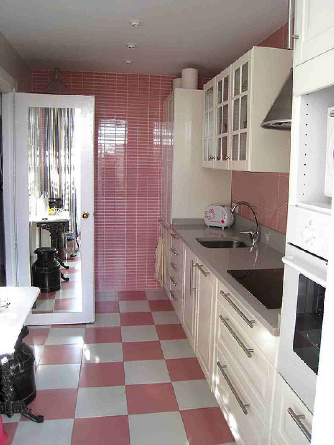 Pink And Black Kitchen Decor Pink Checkerboard Floor And White Cabinets Dream House
