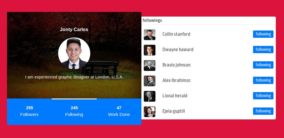 Bootstrap Profile Card Design With Tab Card Design Design Web Design