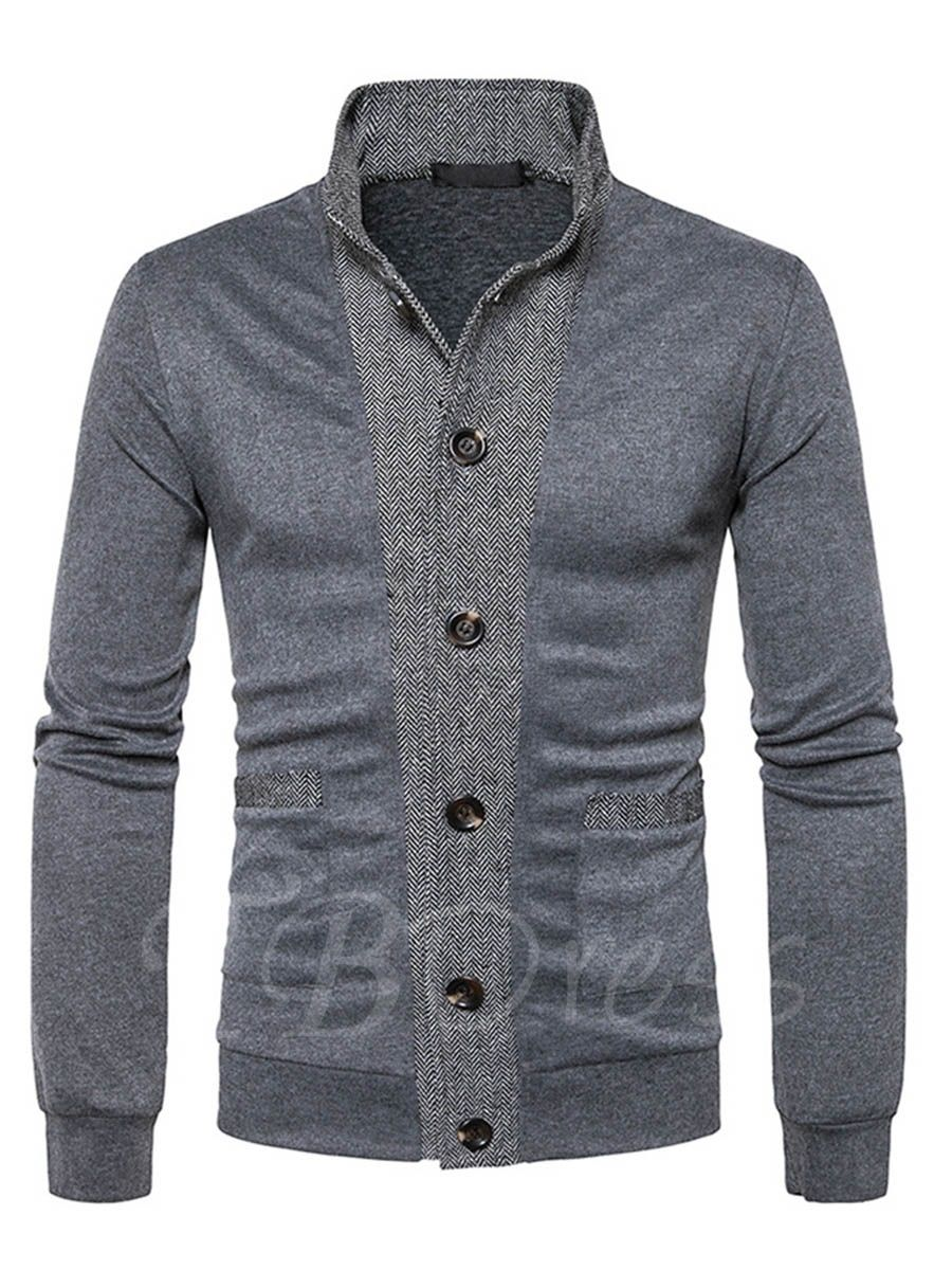 Lapel Patchwork Color Block Classic Slim Fit Knit Men's Cardigan ...