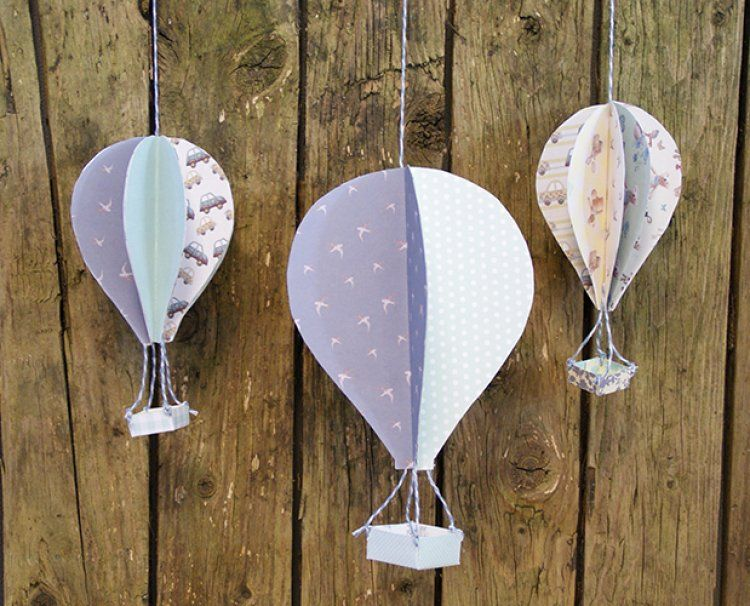 Handmade 3d Paper Hot Air Balloons With Free Template Things To Do