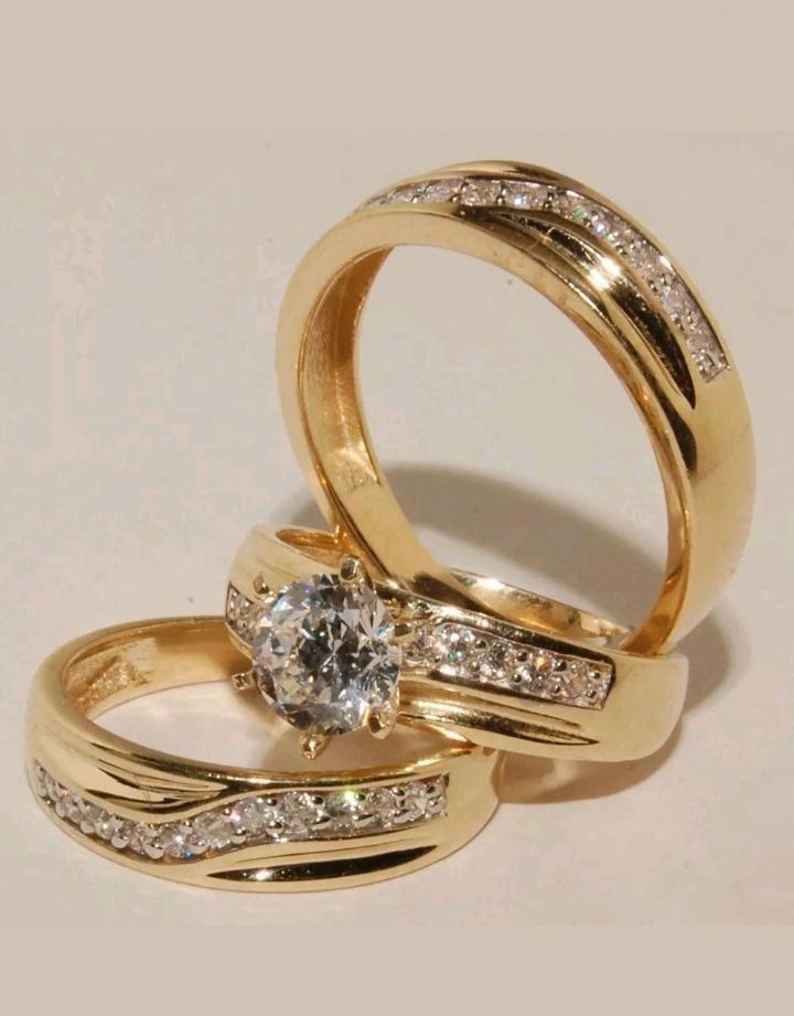 14k yellow gold wedding ring sets