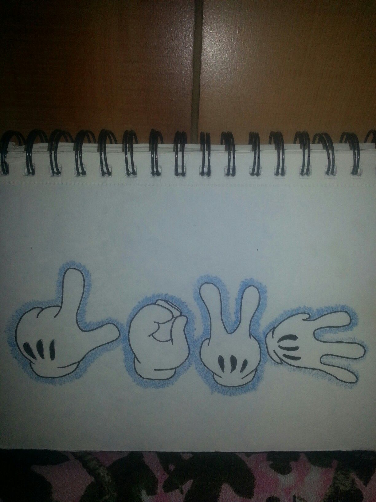 Disney Inspired Drawing Is Mickeys Hands Spelling Out Love