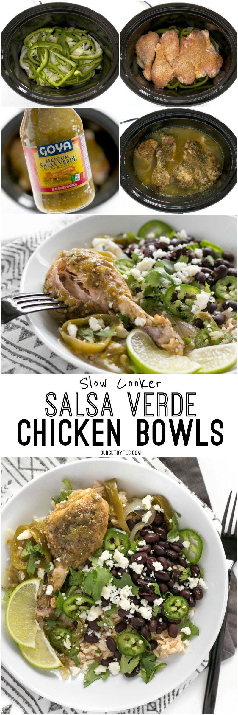 Slow Cooker Salsa Verde Chicken is a fast, easy, and flavorful dinner full of southwest flavors. BudgetBytes.com