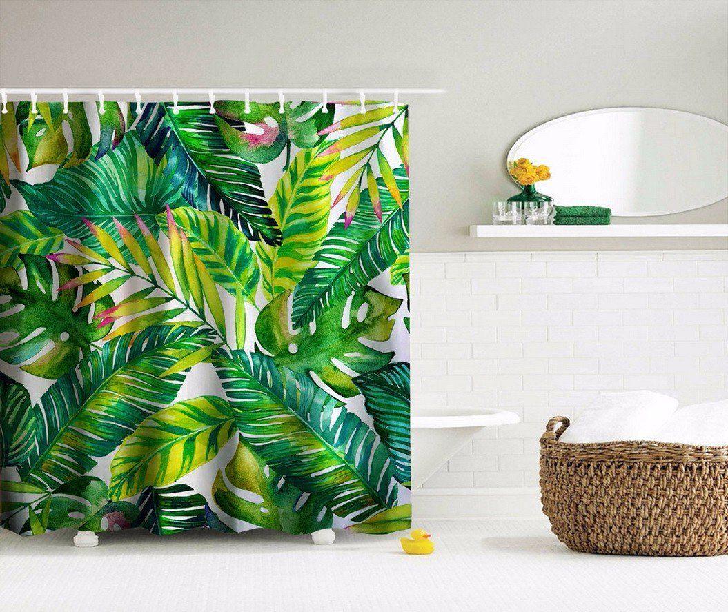 A.Monamour Feuilles De Bananier Vert Tropical Feuilles Motif De ...