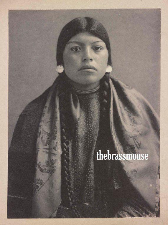 Native American Woman in Braids Vintage Sepia Photograph Instant Digital Download Scrapbook Junk Journal Altered Art