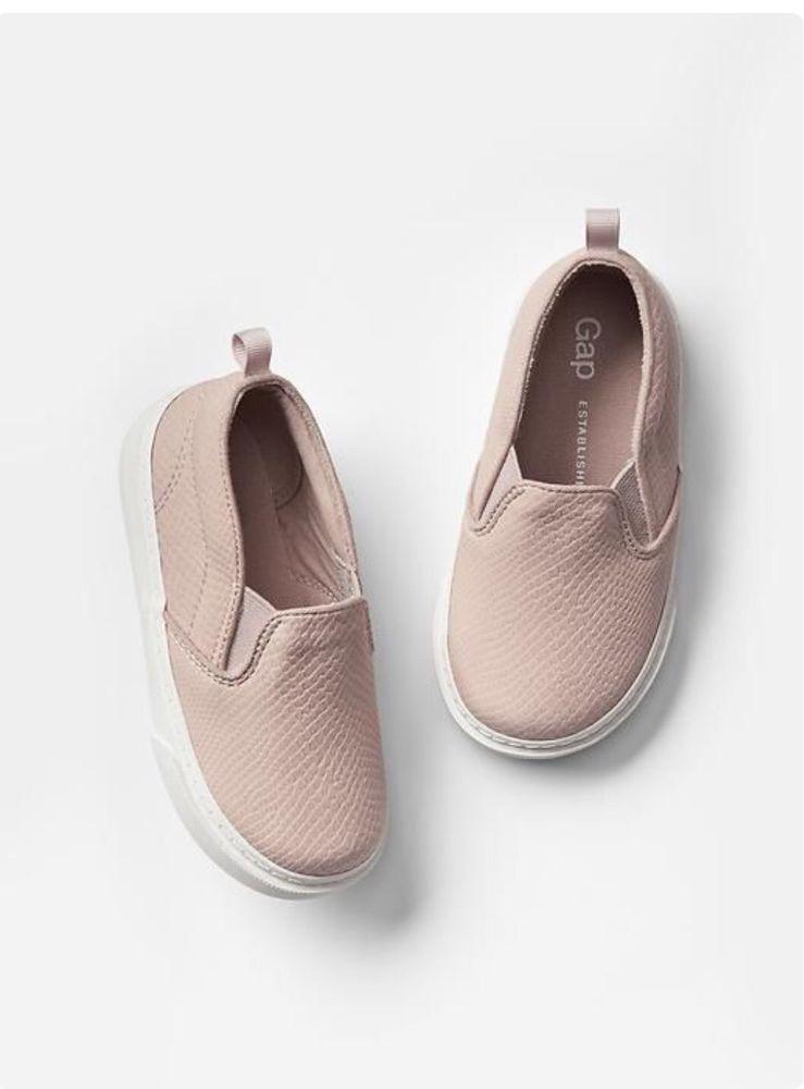 GAP Baby Girl NWT Size 8 Black Faux Snakeskin Slip On Shoes Toddler Boy