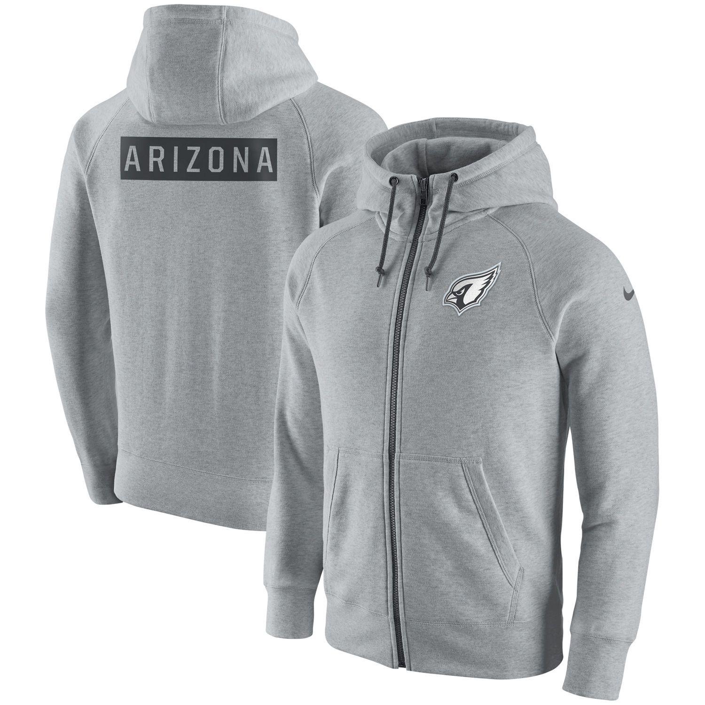 ccba1dbf6d16 Men s Arizona Cardinals Nike Ash Gridiron Gray 2.0 Full-Zip Hoodie ...