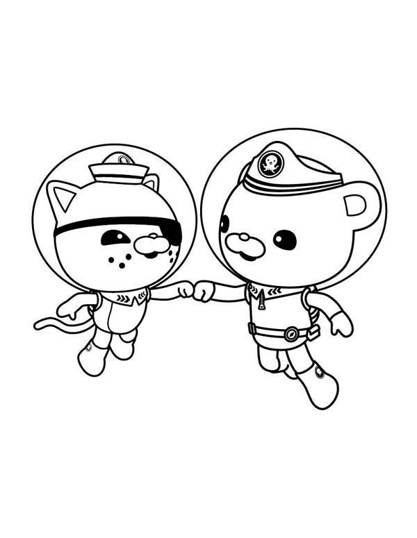 octonauts lieutenant kwazii and captain barnacles coloring page source by kboniecki