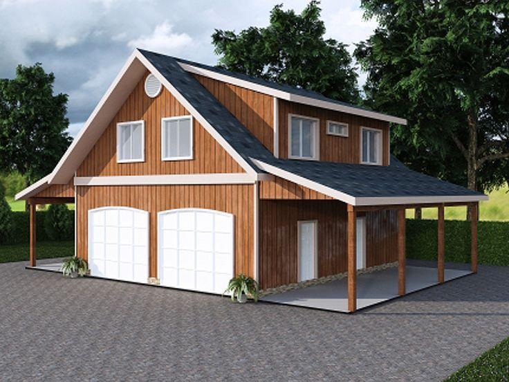 Garage plan with carport 012g 0047 barns for living for Carport apartment
